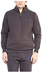 UV&W Men's Fleece Sweatshirt (MFTCK34_S_Smokey Grey, Smokey Grey Small)