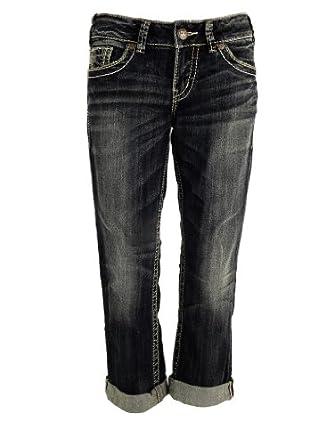 Silver Jeans Juniors Suki Mid Rise Jean Capri, Indigo, 25