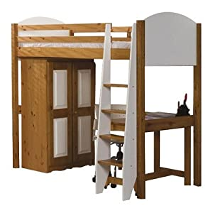 Single High Sleeper Bunk Bed Pieces Included: Bed Frame / Tall Boy / 5 Drawer Chest, Finish: White