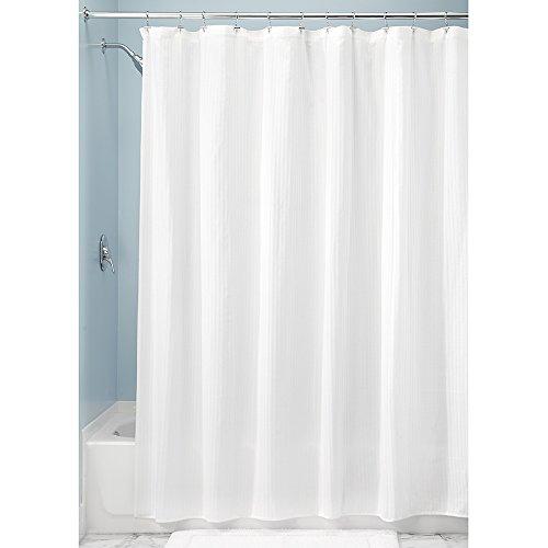 InterDesign Hugo Cotton Blend Shower Curtain, Luxury Hotel - Long 72 x 84, White