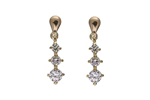 Unique Wishlist 9ct Yellow Gold Clear Cubic Zirconia Triple Graduated Round Drops *AP3321