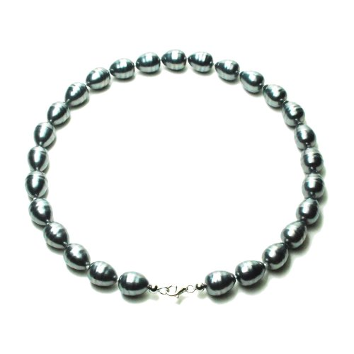 Sterling Silver 12mm Gray Shell Pearl Baroque Necklace, 18