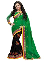 Pavitraa The Perfect combo Green and Black Color worked saree