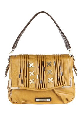 Yellow Faux Leather Shoulder Bag: Yellow Shoulder Bag