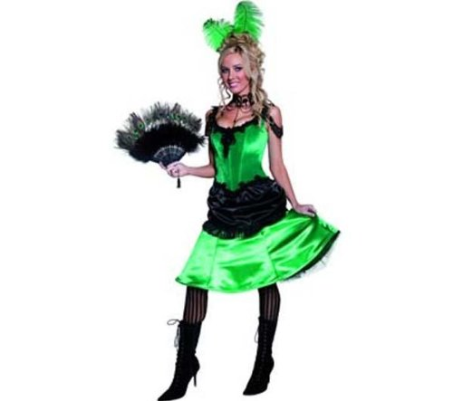 Smiffys Women's Green/Black Authentic Western Saloon Girl Costume US Dress 10-12