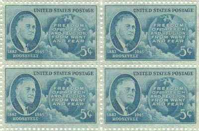 Roosevelt - Freedoms Set of 4 x 5 Cent US Postage Stamps NEW Scot 933