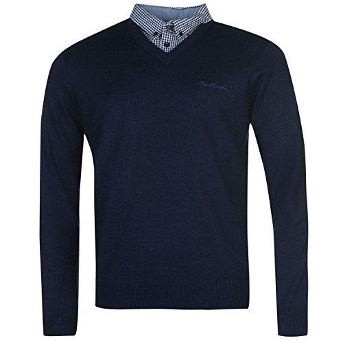 pull-pierre-cardin-pour-homme-avec-faux-col-de-chemise-neuf-en-4-couleurs