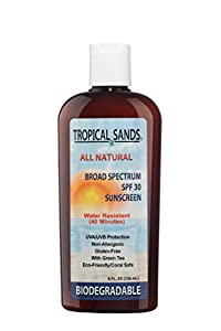 All Natural Biodegradable Water Resistant Sunscreen by Mexitan - SPF 30 - 8 fl Ounces - Reef Safe!