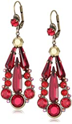 """Sorrelli """"Ruby Cocktail"""" Sparkling Red and Gold Navette Crystal Chandelier Earrings"""