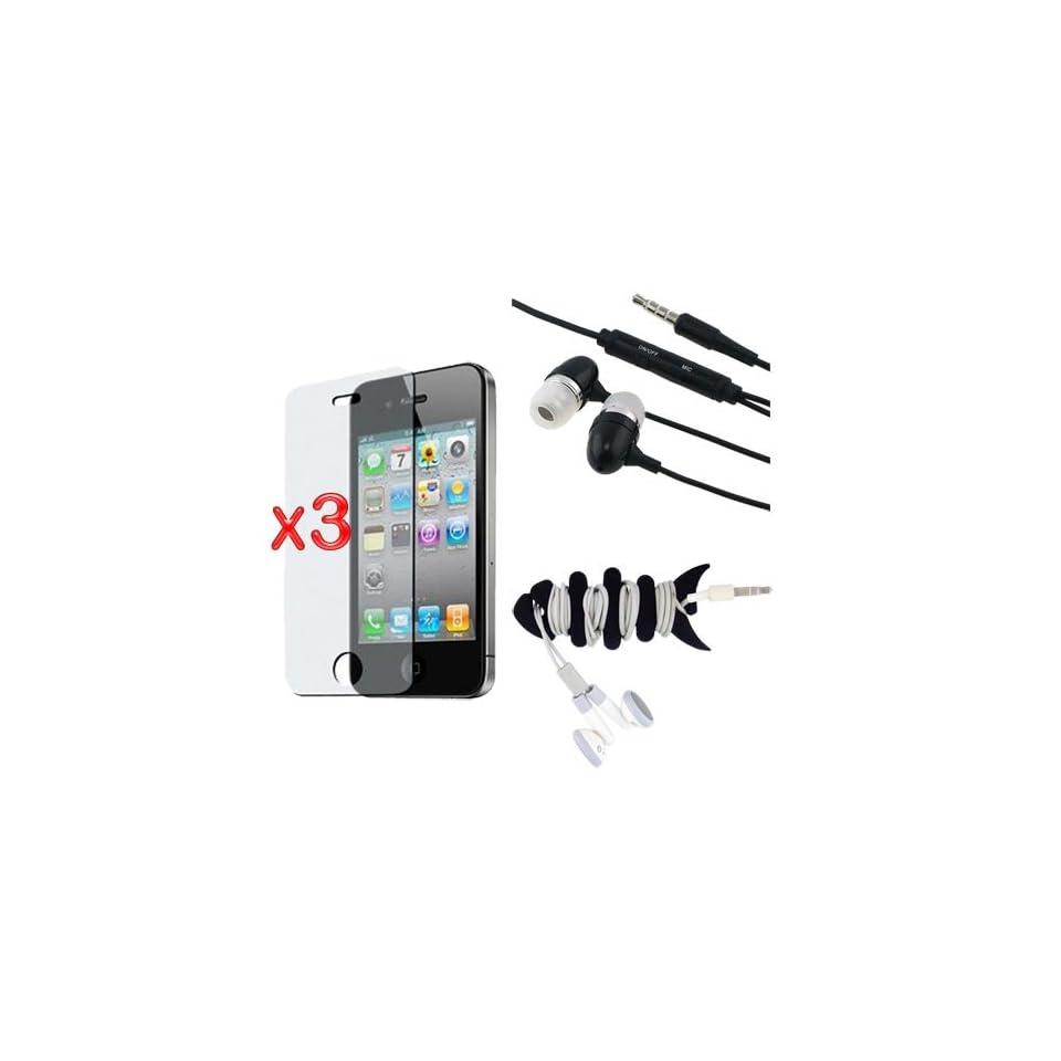 Premium 3 Pack Anti Glare Screen Protector + 3.5mm Earphone Stereo Headset + Fishbone Headset Wrap for Apple iPhone 4S 4G