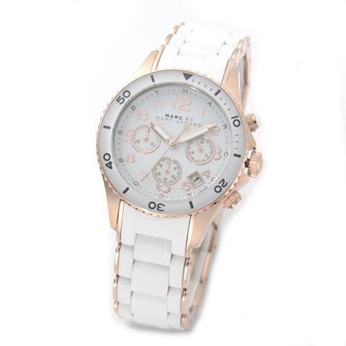 [マークバイマークジェイコブス] MARC BY MARC JACOBS 腕時計 マークバイマークジェイコブス ゴージャス感あるホワイト&ピンクゴールドのラバーストラップ・クロノグラフ・ウオッチ MBM2547 [並行輸入品]