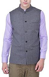 JAPCIS Men's Woollen Waistcoat (CK.3_GREY CHECK_L, Grey, L)