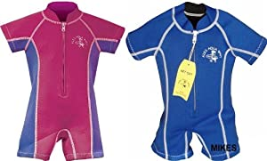 AQUA WAVE KIDS baby WETSUIT 6 MTHS TO 4 YEARS for swimming pool swim wet suit (BLUE, XXS)