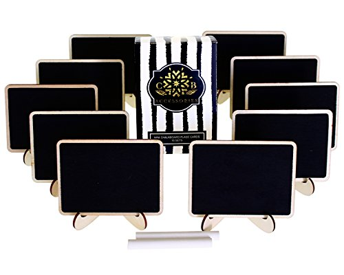 Mini Chalkboards Place Cards with Easel and Chalk for Weddings, Parties, Table Top Numbers, Food Presentation, Message Board, Gifts and Special Events (10 Sets) (Baby Food Tags compare prices)