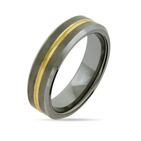 Men's 7mm Tungsten Promise Ring with Gold Inlay Size 12 (Sizes 9 10 11 12 13 Available)