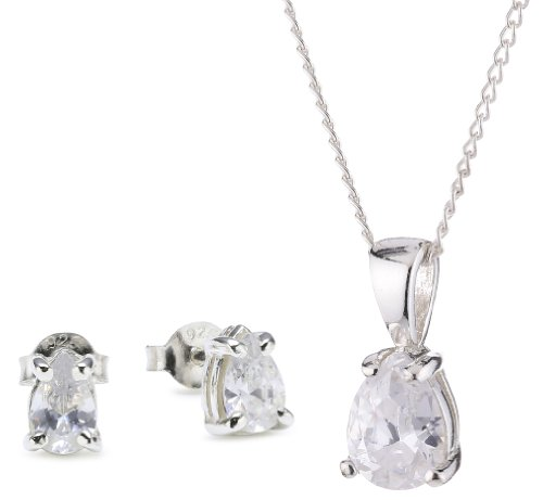 Chic Silver Cubic Zirconia Pear Shaped Pendant and Earring Set with 46cm Chain