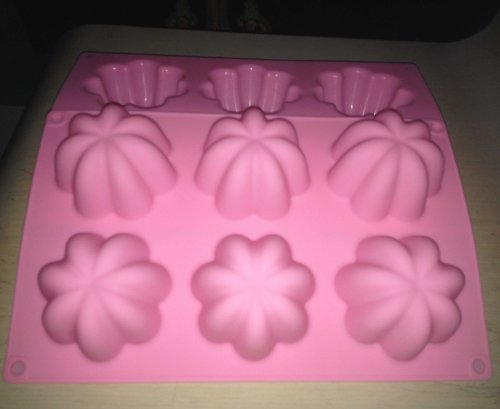 LARGE 6 holes Lovely FLOWERS Jelly Soap Biscuit Cake Baking icing cupcake topper mold Chocolate Sugar paste wax Silicone MOULD Pan Tray Bakeware 275*175*42mm
