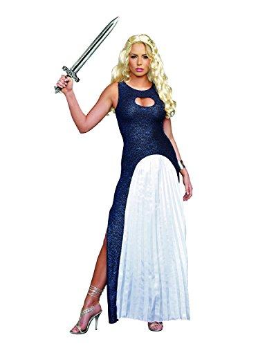 Dreamgirl Women's Queendom Come Warrior Queen Khaleesi Costume, Blue/White, Large