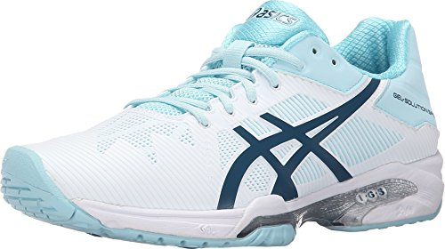 ASICS Women's Gel-Solution Speed 3 Tennis Shoe, White/Blue Steel/Crystal Blue, 8 M US