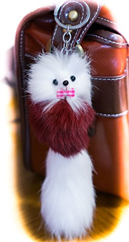 3 2 FOR! Big Designer Fur Keyring 20 cm, Charm, Cute Animale, Unique Gift, Cute, Chain, Fox, Ferret, Monster Keychain Yellow (Large) large Baby pink & White