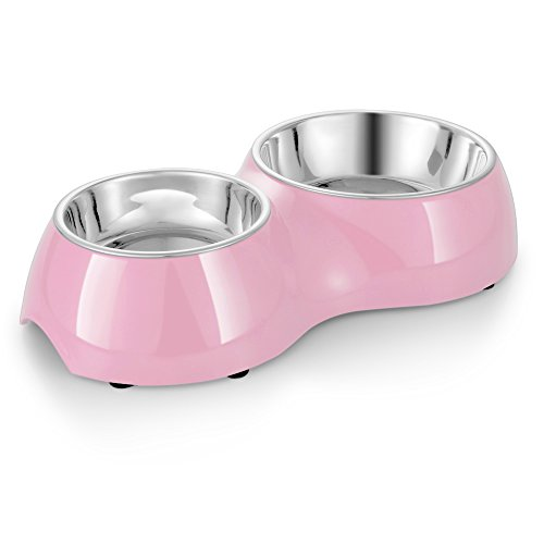 Flexzion Dog Cat Feeder Bowl Diner Feeding Station Tray with Stand Animal Pet Food Holder - Stainless Steel Dual Double Diner Dish (Pink) (Double Food Dish compare prices)