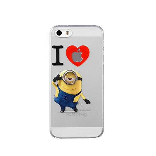 Minion-Custodia morbida in TPU, per Apple Iphone 4, 5, 5C, %2F4S %2F5S %2F6S & 6 6 PLUS %2F6 S **offerta speciale, motivo a quadri, plastica, I LOVE MINIONS, Apple iPhone 6