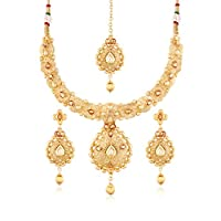 I Jewels 24K Gold Plated Traditional Jewellery Set with Maang Tikka for Women MS112