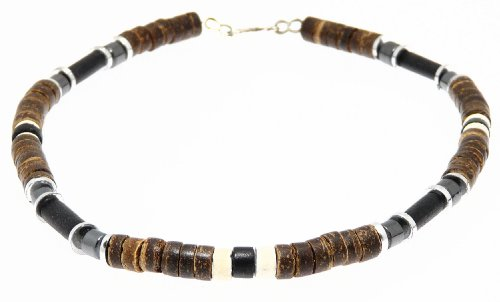 Beautiful Coco Wood & Hematite Bead Beads Surf Surfer Style Necklace / Choker - A