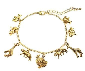 Love Hearts and Crosses Gold Noah'S Ark Animal Charm Bracelet