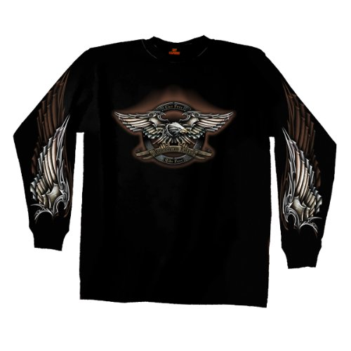 Hot Leathers Iron Eagle Long Sleeve T-Shirt (Black, XX-Large)