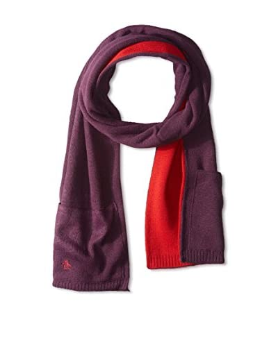 Original Penguin Men's Hyde Knit Scarf with Pockets, Italian Plum
