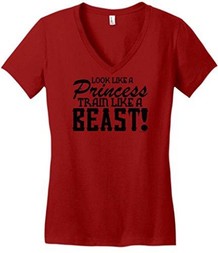 Look Like A Princess Train Like A Beast Juniors V-Neck Medium Classic Red