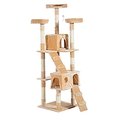 PawHut Cat Tree Kitten Kitty Scratching Scratcher Post Climbing Tower Activity Center House Cream