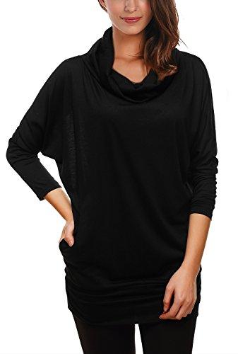 DJT - Maglietta Manica Lunga Pullover Shirt Blouse Top - Donna Nero Taglia unica