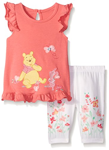 Baby Winnie The Pooh Ruffled Dress with Legging Orange 6/9 Months