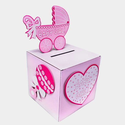 iparty123 baby shower baby girl wishing well box gift card box holder