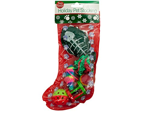 Christmas Cat Stocking, 6 Assorted Toys