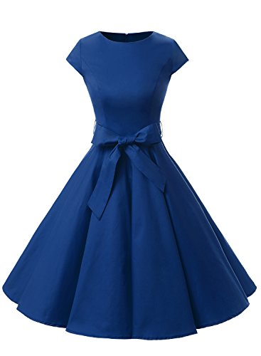 Dressystar Vintage 1950s Polka Dot and Solid Color Prom Dresses Cap-sleeve S Royal Blue