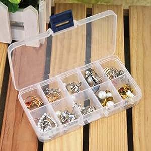 2 Pics 10 Slot DIY Plastic Jewelry Cosmetic Pill Adjustable Compartments Box Case Craft Organizer Storage Box