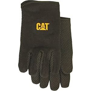 CAT CAT015300L Large Black Jersey PVC Dotted Palm Gloves by CAT