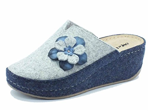 Ciabatte Melluso Walk per donna in lana cotta grigia e blu zeppa alta (Taglia 41)