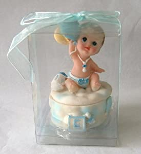 """Baby Keepsake: Set of 12 """"Boy"""" Baby with Balloons on Trinket Box Gift Boxed Party Favors CB083W-BL"""