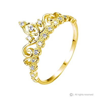 Dainty Sterling Silver Crown Ring / Princess Ring (Yellow Gold Plated)