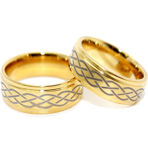 Blue Chip Unlimited - Matching 9mm Golden Celtic Criss Cross Tungsten Rings His & Hers Ring Set Wedding Bands Engagement Rings (Available in Whole & Half Sizes 5-17)