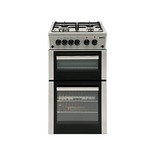 Beko BDVG592S 50cm Wide Double Oven Gas Cooker Silver
