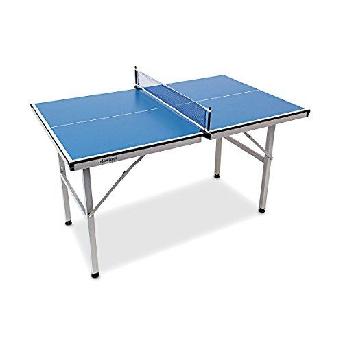 Relaxdays Indoor Tischtennisplatte Midi 125 x 75 x 75 in blau leicht verstaubar - Tischtennistisch auch für draußen mit klappbaren Beinen mit Netz - Kleine Platte für Tischtennis-Spaß für Groß & Klein