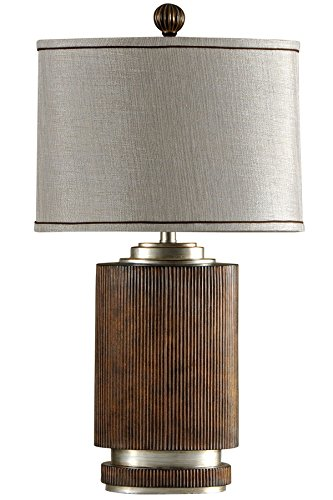 Stylecraft L32576 Ribbed Wood Silver Accents Table Lamp Winthrop Furniture Tables Tables