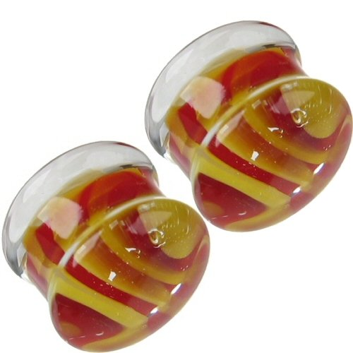 Pair of Glass Double Flared Tiger Stripes Plugs: 2g Red-Yellow