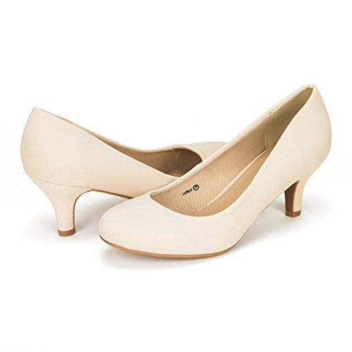 DREAM PAIRS LUVLY Women's Bridal Wedding Party Low Heel Pump Shoes Nude-Nubuck Size 10