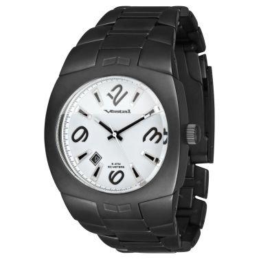 Vestal Unisex MTR032 Gear-head IP Matte Black White Dial Watch